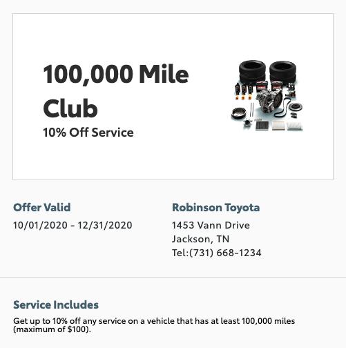 service special - 100k mile club