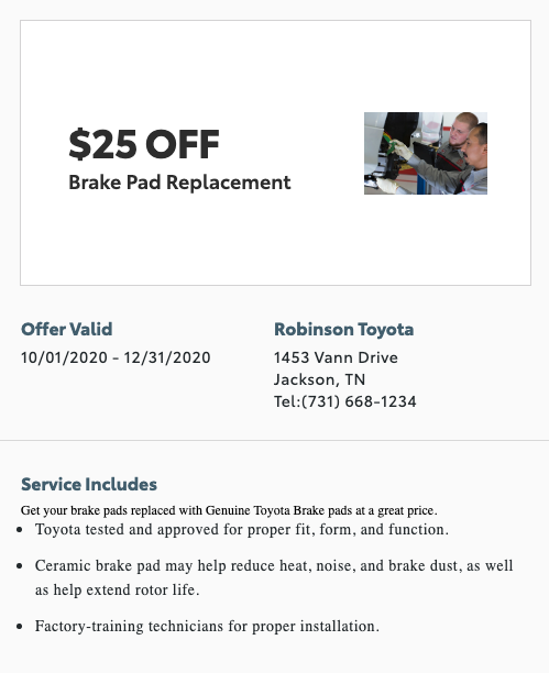 service special - brake pad replacement