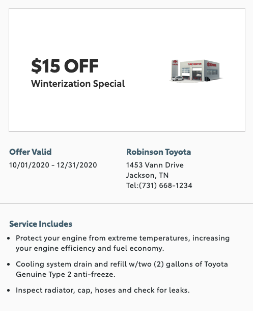 service special - $15 off winterization special