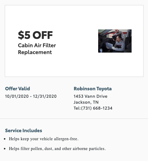 service special - cabin air filter replacement