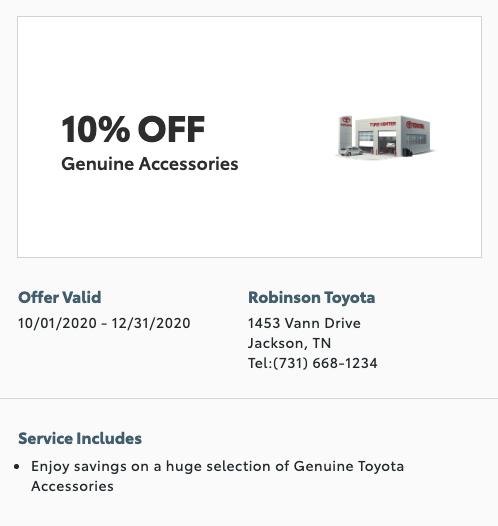 service special - 10% off genuine accessories
